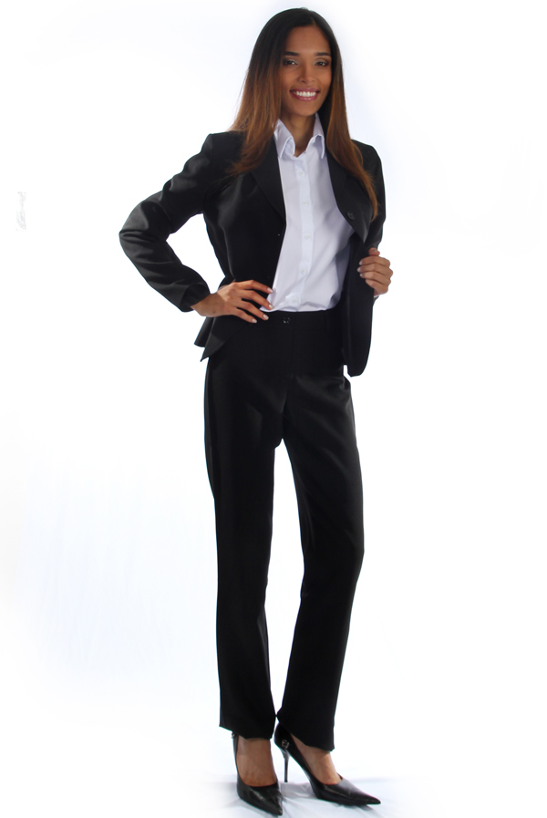 5590f53b73 Terno Social Oxford Preto - Uniforme Feminino - Yoshida uniformes ...